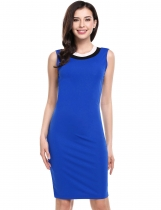 Blue Ženy Casual rukávů Pruhované O Neck Pullover Pencil Dress