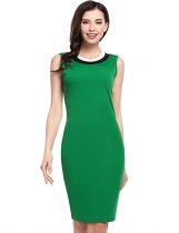 Green Ženy Casual rukávů Pruhované O Neck Pullover Pencil Dress