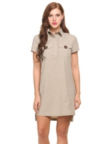 Khaki Short Sleeve High Low Split Hem Pullover Shirt Casual Dress