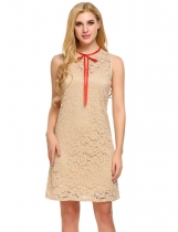Khaki O-Neck Sleeveless Lace Elegant Dress