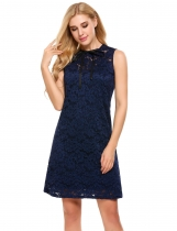 Navy blue O-Neck Sleeveless Lace Elegant Dress