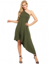 Army green Women Sexy One Shoulder Loose Asymmetrical Maxi Dress