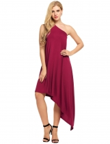 Wine red Women Sexy One Shoulder Loose Asymmetrical Maxi Dress
