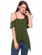 Army green Cold Shoulder Flounce Sleeve Irregular Casual Blouse