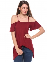 Wine red Cold Shoulder Flounce Sleeve Irregular Casual Blouse