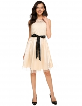 Beige Sleeveless Lace Patchwork Slim Belted Dress
