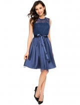 Navy blue Sleeveless Lace Patchwork Slim Belted Dress