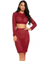 Red Long Sleeve Sheer Striped Crop Top and Bodycon Skirt Set