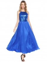 Royal Blue Sleeveless Sequined Mesh Patchwork Dresses