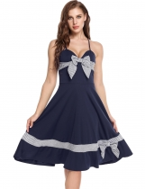 Navy blue Spaghetti Straps Striped Bow Vintage Styles Dress