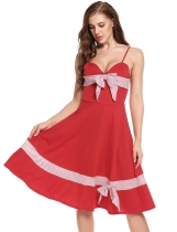 Red Spaghetti Straps Striped Bow Vintage Styles Dress