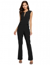 Black Sleeveless Solid O Neck Slim Club Cocktail Jumpsuit