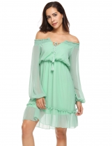 Green Women Off Shoulder Lantern Long Sleeve Ruffled Chiffon Dress