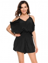 Black Cold Shoulder Tie Back Ruffle Trimmed Romper