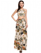 Beige Two Piece Halter Spaghetti Strap Crop Top and Floral Maxi Skirt Set
