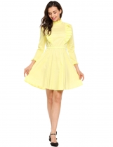 Yellow Vintage Style High Neck Ruffled Trim A-Line Dress
