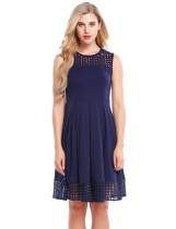 Navy blue Sleeveless Lace Hollow Out Patchwork A-Line Dress