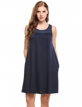 Navy blue Sleeveless Lace Patchwork Bohemian O Neck Casual Dress