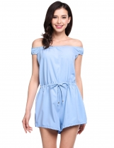 Light blue Off Shoulder Drawstring Wasit Short Overall Playsuit Romper