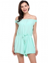 Mint Green Off Shoulder Drawstring Wasit Short Overall Playsuit Romper