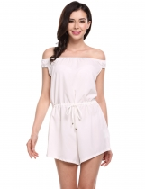 White Off Shoulder Drawstring Wasit Short Overall Playsuit Romper