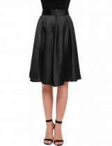 Black Classic High Waist Solid Flared Knee-Length Skater Skirt