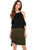 Army green Fold Over Waist Solid Drawstring Casual Pencil Skirt