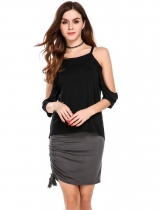 Dark gray Fold Over Waist Solid Drawstring Casual Pencil Skirt