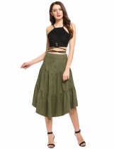 Army green Solid Casual Loose Asymmetric Hem Tiered Skirt