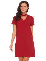 Wine red Short Sleeve Solid V Neck Lace Casual Dress