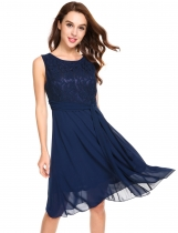 Dark blue Lace Patchwork Chiffon A-Line Pleated Hem Bridesmaid Dress with Lining