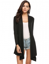 Black Mulheres Casual Manga Comprida Solid Asymmetrical Boyfriend Long Cardigan