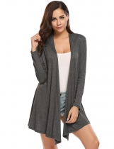 Dark gray Long Sleeve Solid Asymmetrical Boyfriend Long Cardigan