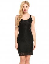 Black Sleeveless Lace Bodycon Pencil Short Dress