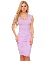 Fuchsia Sleeveless Shoulder Ruched Sexy Bodycon Dress
