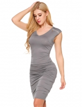 Gray Sleeveless Shoulder Ruched Sexy Bodycon Dress