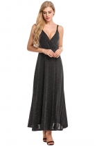 Black Women V-Neck Wrap Front High Waist Glitter Maxi Dress