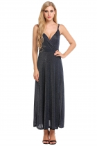 Navy blue Women V-Neck Wrap Front High Waist Glitter Maxi Dress