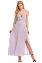 Purple Women V-Neck Wrap Front High Waist Glitter Maxi Dress