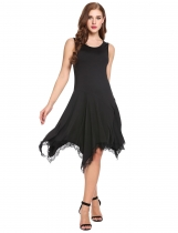 Black Sleeveless Lace Trimming Asymmetrical Casual Dress