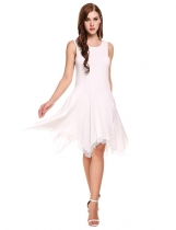 White Sleeveless Lace Trimming Asymmetrical Casual Dress