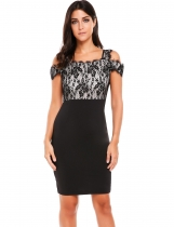 Negro Mujeres Sexy Collar De Hombro Vuelta V Neck Lace Patchwork Slim Pencil Dress