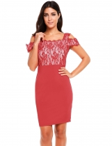 Rojo Mujeres Sexy Collar De Hombro Vuelta V Neck Lace Patchwork Slim Pencil Dress
