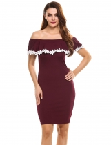 Wine red Lace Patchwork Off Shoulder Pullover Going Out Dress