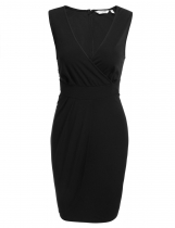 Black Surplice Neck Sleeveless Solid Slim Pencil Dress
