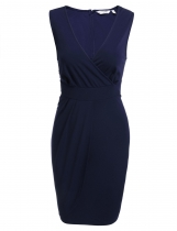 Navy blue Surplice Neck Sleeveless Solid Slim Pencil Dress