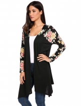 Black Long Sleeve Open Front Floral Patchwork Irregular Long Cardigan