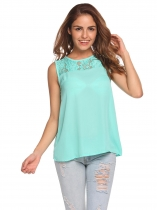 Green O-Neck Sleeveless Lace Chiffon Tank Tops
