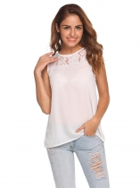 White O-Neck Sleeveless Lace Chiffon Tank Tops