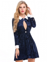 Blue Turn Down Collar Keyole Fit and Flare Velvet Dress